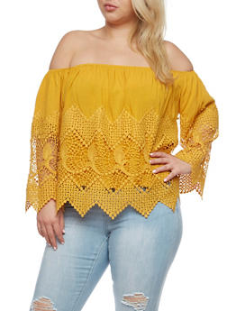 Plus Size Off the Shoulder Crochet Trim Top - MUSTARD - 0803035042240