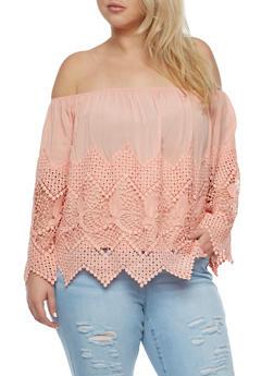 Plus Size Off the Shoulder Crochet Trim Top - BLUSH - 0803035042240
