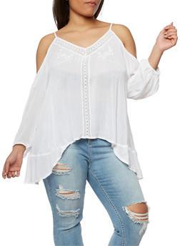 Plus Size Cold Shoulder Crochet Trim Top - WHITE - 0803038348637