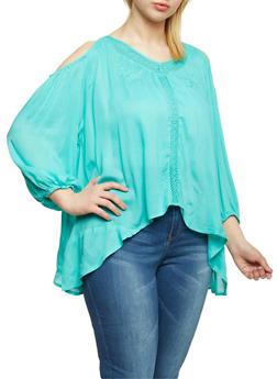 Plus Size Cold Shoulder Crochet Trim Top - 0803038348637