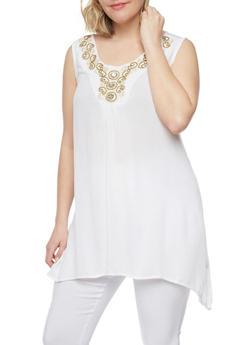Plus Size Sleeveless Gauzy Top with Crochet Detail - 0803038348664