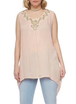 Plus Size Sleeveless Gauzy Top with Crochet Detail - 0803038348664