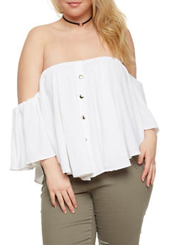 Plus Size Off the Shoulder Button Down Top - 0803051060728