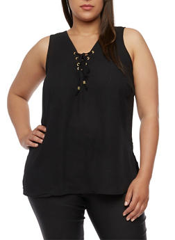 Plus Size Sleeveless Lace Up V Neck Top - BLACK - 0803051066836