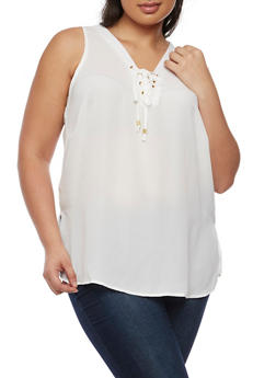 Plus Size Sleeveless Lace Up V Neck Top - IVORY - 0803051066836