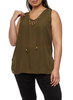 Plus Size Sleeveless Lace Up V Neck Top - OLIVE - 0803051066836
