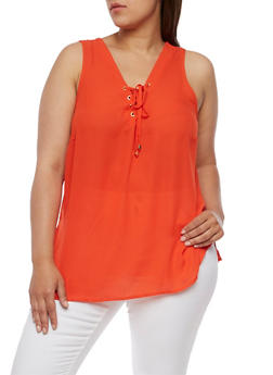 Plus Size Sleeveless Lace Up V Neck Top - RED - 0803051066836