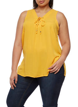 Plus Size Sleeveless Lace Up V Neck Top - MUSTARD - 0803051066836