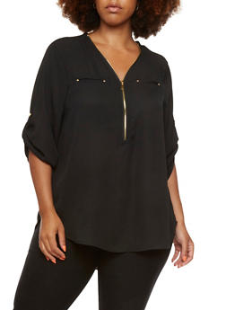 Plus Size Semi-Sheer Blouse with Front Zip V-Neck - 0803051067596