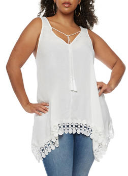 Plus Size Crochet Trim Sharkbite Top - 0803051068984