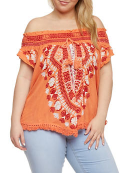 Plus Size Off the Shoulder Tassel Fringe Hem Top with Smocked Neckline - 0803051069237
