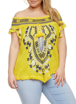Plus Size Off the Shoulder Tassel Fringe Hem Top with Smocked Neckline - 0803051069237