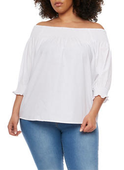Plus Size Off the Shoulder Top with Smocked Trim - WHITE - 0803051069277