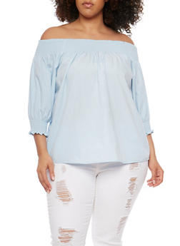 Plus Size Off the Shoulder Top with Smocked Trim - 0803051069277