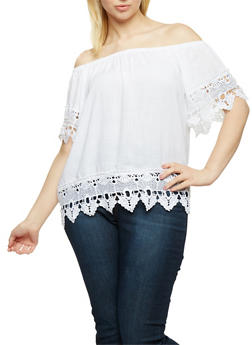 Plus Size Off the Shoulder Top with Crochet Trim - 0803051069315