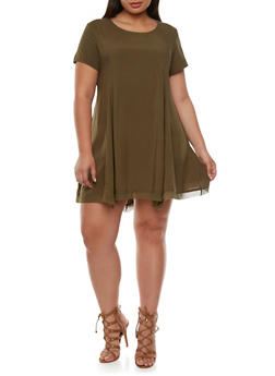 Plus Size Swing Dress with Back Zipper - 0803054266900