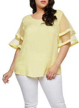 Plus Size Tiered Mesh Sleeve Top - 0803056122566