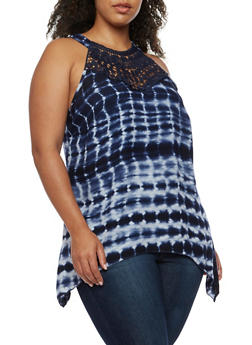 Plus Size Crochet Tie Die Asymmetrical Top - 0803056122691