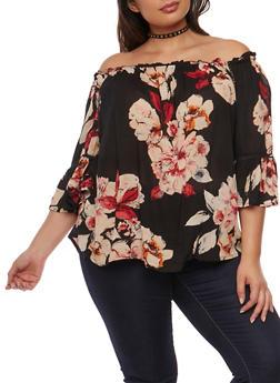 Plus Size Off the Shoulder Floral Top - 0803056122811
