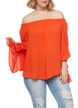 Plus Size Off Shoulder Gauze Knit Top with 3/4 Bell Sleeves - 0803056122863