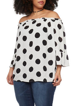 Plus Size Off the Shoulder Polka Dot Top with Bell Sleeves - BLACK/WHITE - 0803056122867