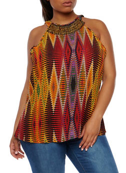 Plus Size Printed Tank Top with Metallic Fringe Collar - 0803056122891
