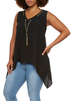 Plus Size Asymmetrical Tank Top with Necklace - 0803056123721