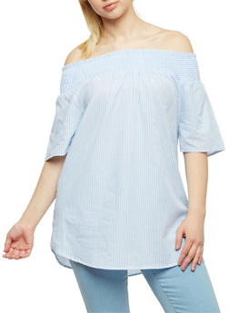 Plus Size Striped Off the Shoulder Peasant Top - 0803056125273