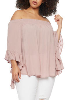 Plus Size Off the Shoulder Top with Flutter Sleeves - 0803056125286