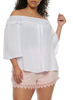 Plus Size Off the Shoulder Peasant Top with Crochet Trim - 0803056125287