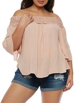 Plus Size Off the Shoulder Peasant Top with Crochet Trim - BLUSH - 0803056125287