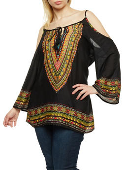 Plus Size Cold Shoulder Dashiki Print Tunic Top - 0803056125526