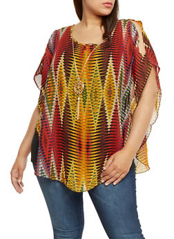 Plus Size Layered Sleeveless Top with Necklace - 0803056126401