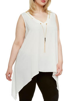 Plus Size Top with Grommet Neckline and Removable Necklace - 0803056127215