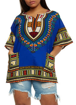 Plus Size Dashiki Print Tunic with Front Pockets - 0803058750060