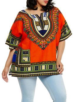 Plus Size Dashiki Print Tunic with Front Pockets - 0803058750060