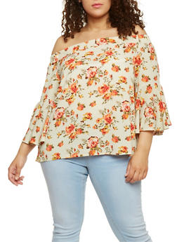 Plus Size Off the Shoulder Floral Peasant Top - 0803058751683