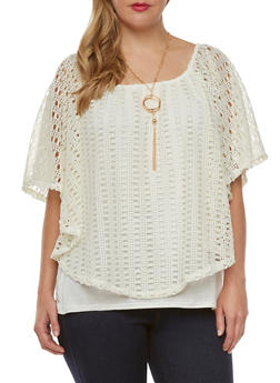 Plus Size Crochet Flutter Top with Removable Necklace - 0803058754671