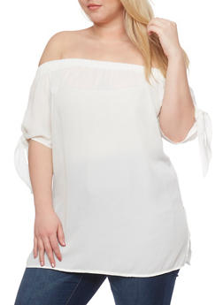 Plus Size Off the Shoulder Tie Sleeve Top - 0803058755754