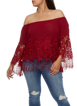 Plus Size Off the Shoulder Top with Crochet Overlay - BURGUNDY - 0803058930203