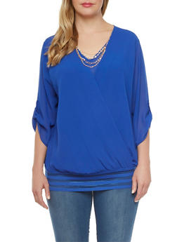 Plus Size Chiffon Blouse with Shadow Stripe Hem and Removable Necklace - 0803058930307