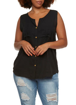 Plus Size Tank Top with Button Front - 0803058930309