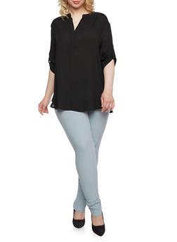 Plus Size Chiffon Top with Mandarin Collar - 0803058930408