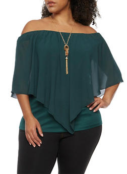 Plus Size Off the Shoulder Chiffon Overlay Top with Necklace - 0803058930711