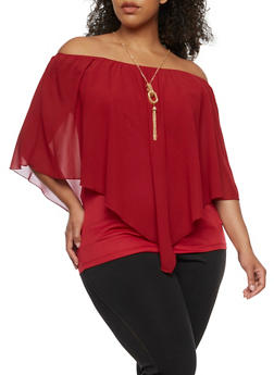 Plus Size Off the Shoulder Chiffon Overlay Top with Necklace - BURGUNDY - 0803058930711