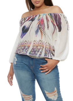 Plus Size Off the Shoulder Feather Print Top - 0803058931018
