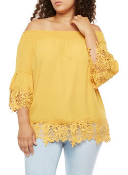 Plus Size Smocked Off the Shoulder Top - 0803058932760