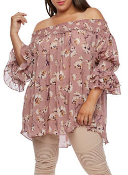 Plus Size Floral Smocked Top - 0803058932860