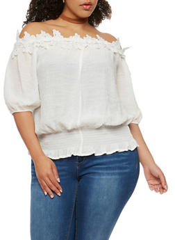 Plus Size Off the Shoulder Gauzy Top with Crochet Trim - 0803058933093