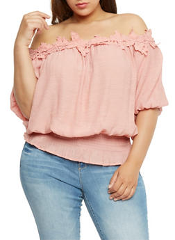 Plus Size Off the Shoulder Gauzy Top with Crochet Trim - 0803058933093